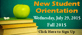 Sign Up for New Student Orientation, Wednesday, July 29