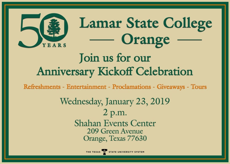 Join us for our Anniversary Kickoff Celebration, Wednesday, January 23, 2019, 2pm, Shahan Events Center, 209 Green Avenue, Orange, TX 77630
