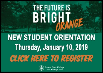 New Student Orientation, Thursday, January 10, 2019, Click Here to Register